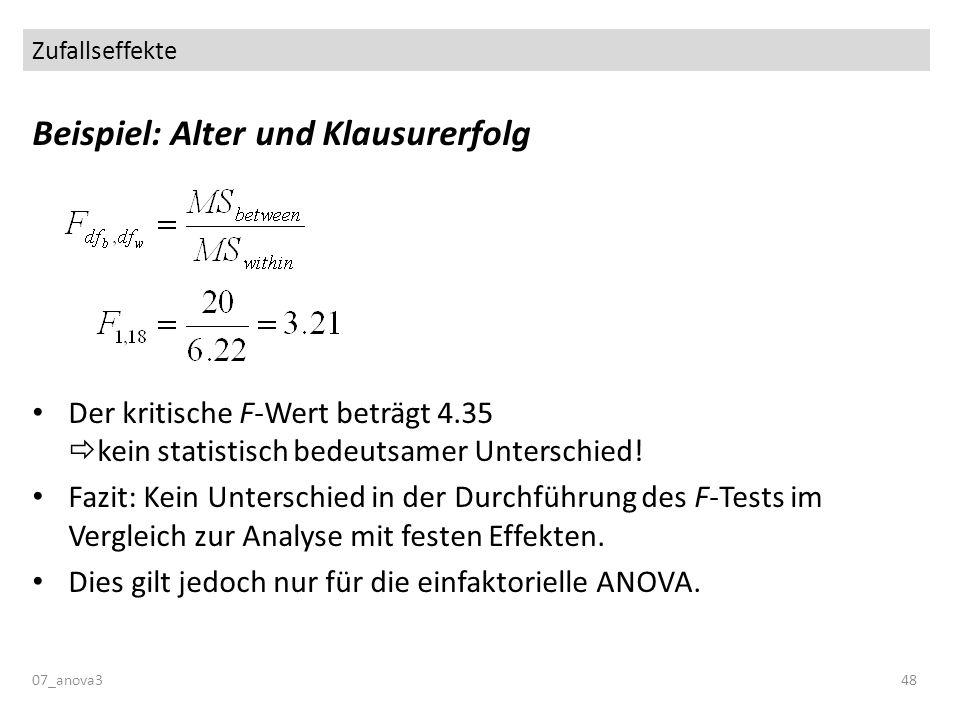 Zufallseffekte 07_anova348 Beispiel: Alter und Klausurerfolg Der kritische F-Wert beträgt 4.35 kein statistisch bedeutsamer Unterschied! Fazit: Kein U