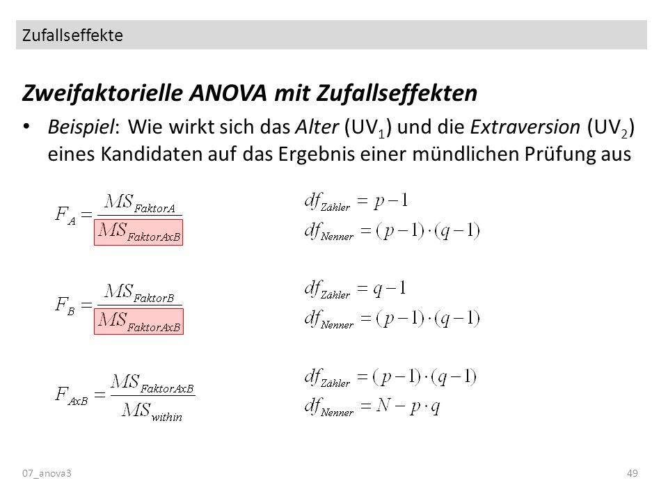 Zufallseffekte 07_anova349 Zweifaktorielle ANOVA mit Zufallseffekten Beispiel: Wie wirkt sich das Alter (UV 1 ) und die Extraversion (UV 2 ) eines Kan