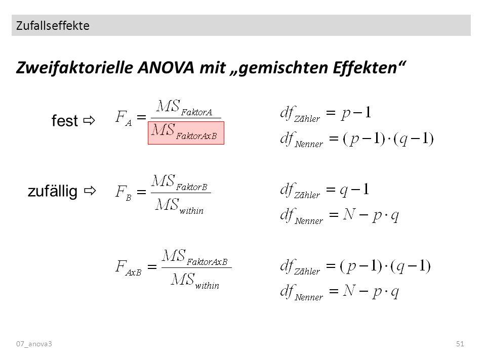 Zufallseffekte 07_anova351 Zweifaktorielle ANOVA mit gemischten Effekten zufällig fest