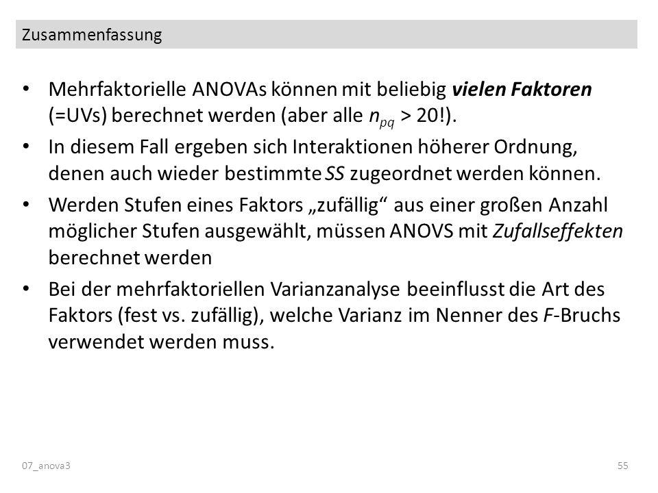 Zusammenfassung 07_anova355 Mehrfaktorielle ANOVAs können mit beliebig vielen Faktoren (=UVs) berechnet werden (aber alle n pq > 20!). In diesem Fall