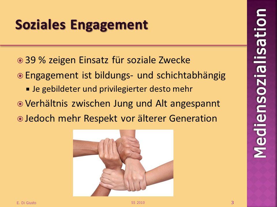 39 % zeigen Einsatz für soziale Zwecke Engagement ist bildungs- und schichtabhängig Je gebildeter und privilegierter desto mehr Verhältnis zwischen Ju