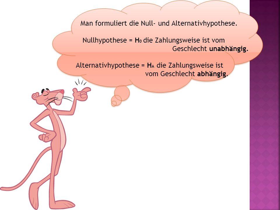 Man formuliert die Null- und Alternativhypothese.