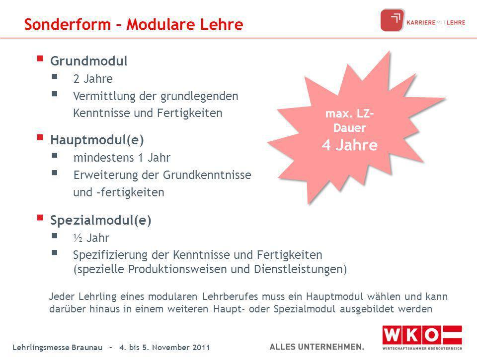 Lehrlingsmesse Braunau – 4. bis 5. November 2011 Grundmodul 2 Jahre Vermittlung der grundlegenden Kenntnisse und Fertigkeiten Hauptmodul(e) mindestens