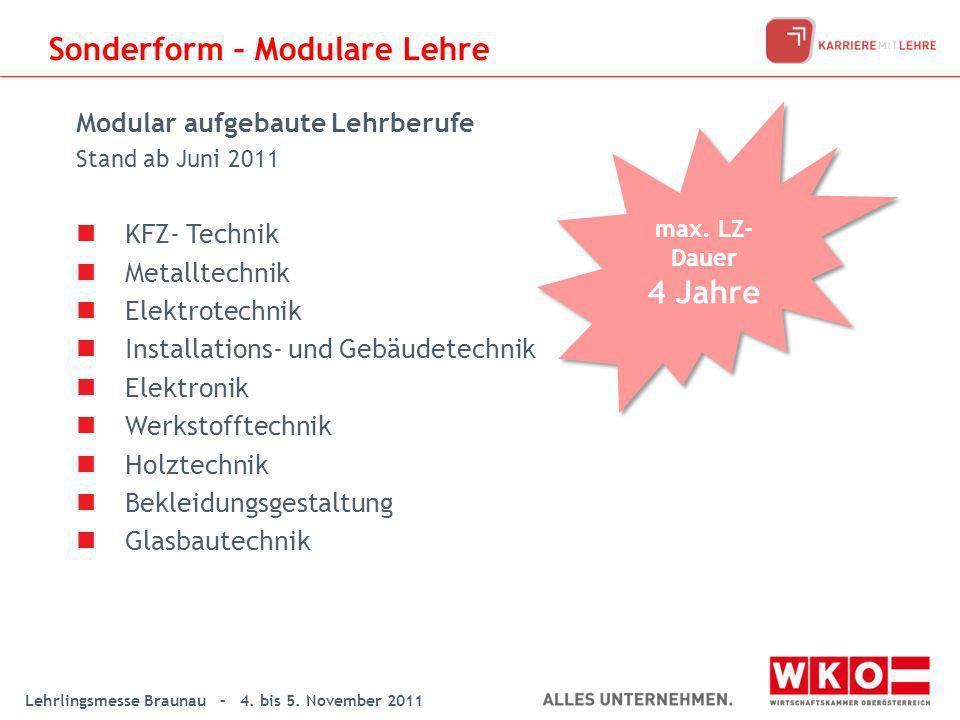 Lehrlingsmesse Braunau – 4. bis 5. November 2011 Modular aufgebaute Lehrberufe Stand ab Juni 2011 KFZ- Technik Metalltechnik Elektrotechnik Installati