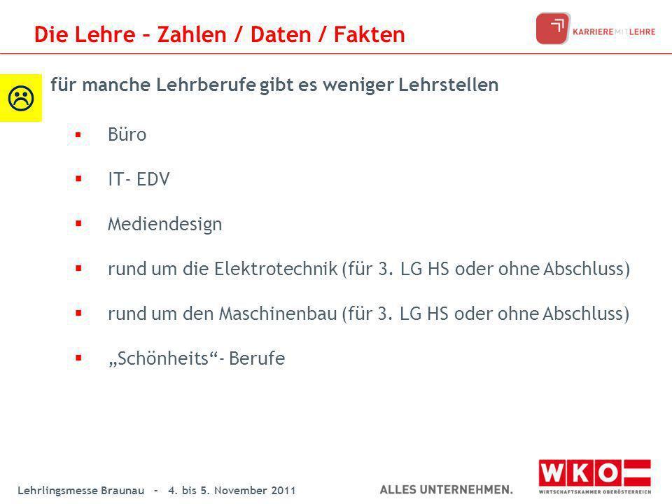 Lehrlingsmesse Braunau – 4. bis 5. November 2011 Büro IT- EDV Mediendesign rund um die Elektrotechnik (für 3. LG HS oder ohne Abschluss) rund um den M