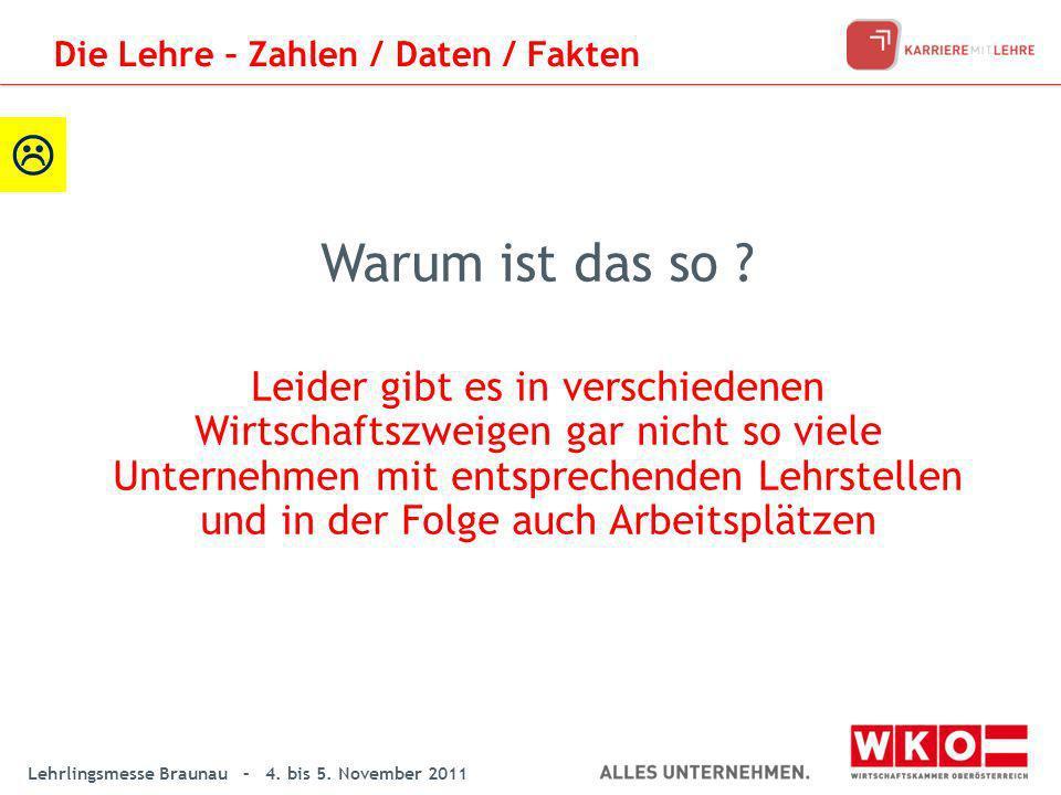 Lehrlingsmesse Braunau – 4. bis 5. November 2011 Warum ist das so ? Leider gibt es in verschiedenen Wirtschaftszweigen gar nicht so viele Unternehmen