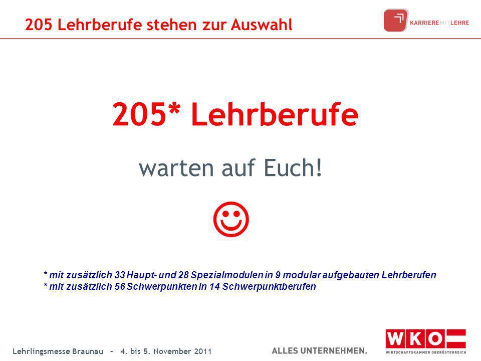 Lehrlingsmesse Braunau – 4. bis 5. November 2011 205* Lehrberufe warten auf Euch! * mit zusätzlich 33 Haupt- und 28 Spezialmodulen in 9 modular aufgeb