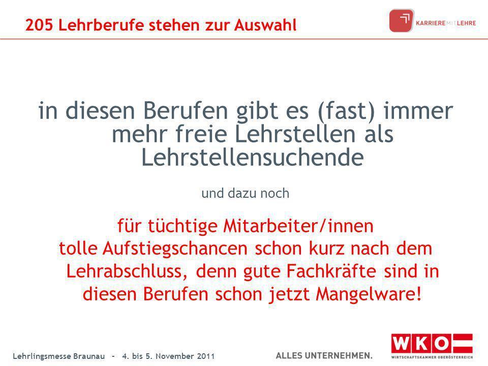 Lehrlingsmesse Braunau – 4. bis 5. November 2011 in diesen Berufen gibt es (fast) immer mehr freie Lehrstellen als Lehrstellensuchende und dazu noch f