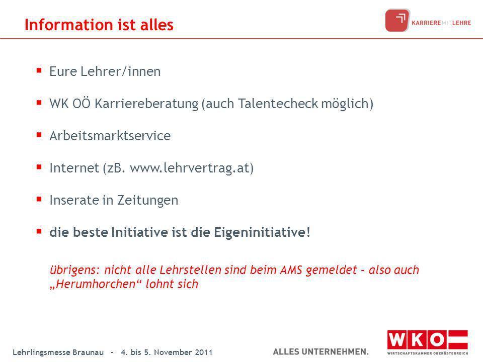 Lehrlingsmesse Braunau – 4. bis 5. November 2011 Eure Lehrer/innen WK OÖ Karriereberatung (auch Talentecheck möglich) Arbeitsmarktservice Internet (zB