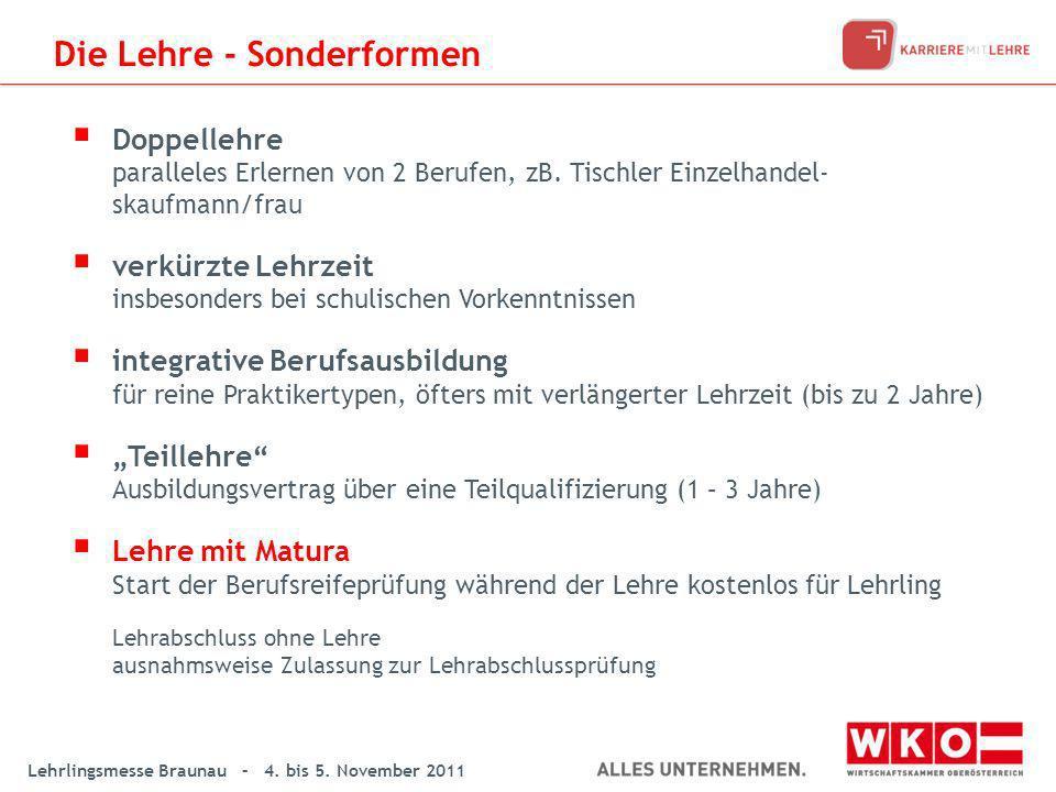 Lehrlingsmesse Braunau – 4. bis 5. November 2011 Die Lehre - Sonderformen Doppellehre paralleles Erlernen von 2 Berufen, zB. Tischler Einzelhandel- sk