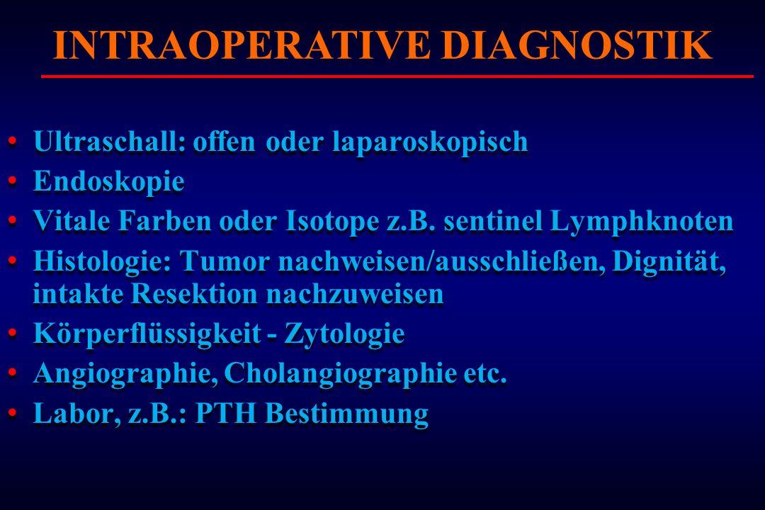 Ultraschall: offen oder laparoskopisch Endoskopie Vitale Farben oder Isotope z.B. sentinel Lymphknoten Histologie: Tumor nachweisen/ausschließen, Dign