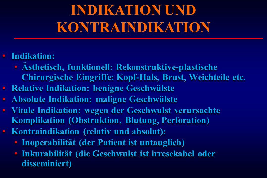 Indikation: Ästhetisch, funktionell: Rekonstruktive-plastische Chirurgische Eingriffe: Kopf-Hals, Brust, Weichteile etc. Relative Indikation: benigne
