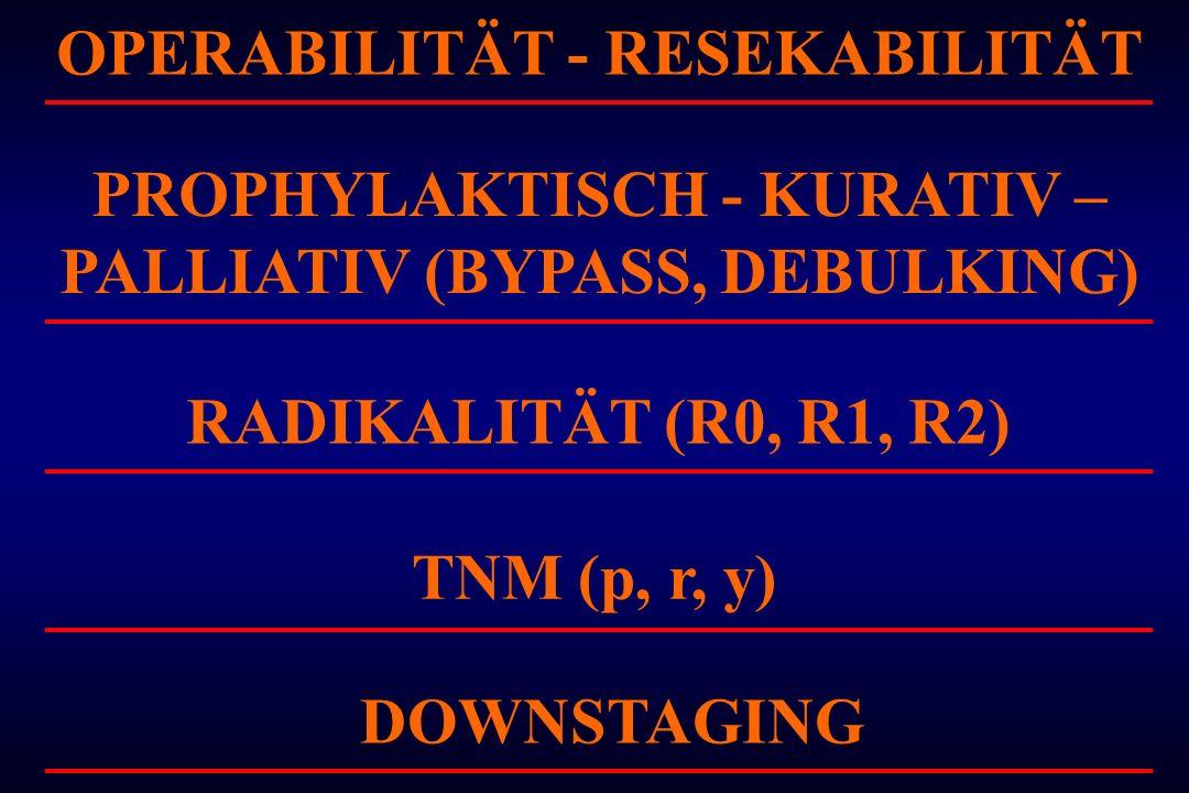 OPERABILITÄT - RESEKABILITÄT PROPHYLAKTISCH - KURATIV – PALLIATIV (BYPASS, DEBULKING) RADIKALITÄT (R0, R1, R2) TNM (p, r, y) DOWNSTAGING