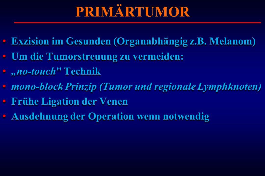 Exzision im Gesunden (Organabhängig z.B. Melanom) Um die Tumorstreuung zu vermeiden: no-touch