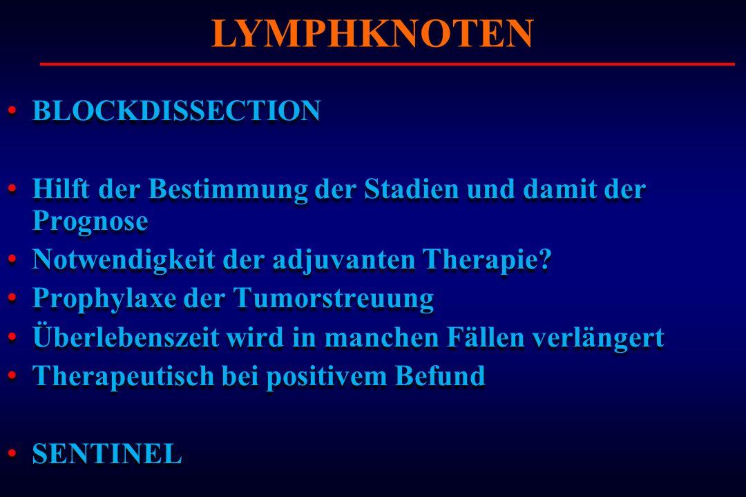 BLOCKDISSECTION Hilft der Bestimmung der Stadien und damit der Prognose Notwendigkeit der adjuvanten Therapie? Prophylaxe der Tumorstreuung Überlebens