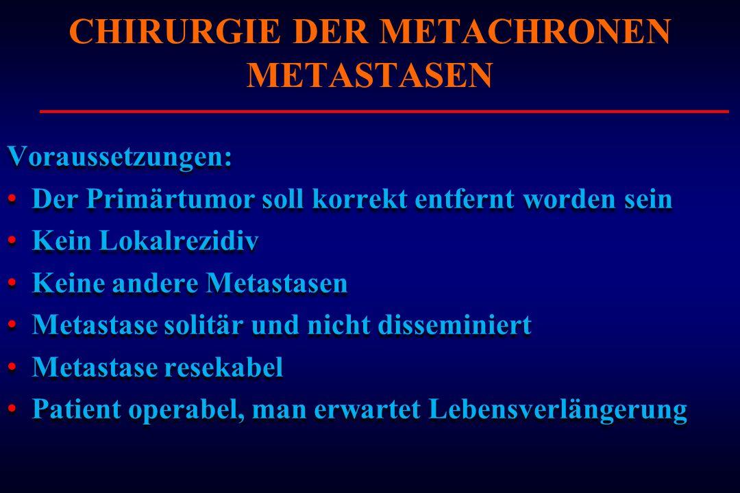 Voraussetzungen: Der Primärtumor soll korrekt entfernt worden sein Kein Lokalrezidiv Keine andere Metastasen Metastase solitär und nicht disseminiert