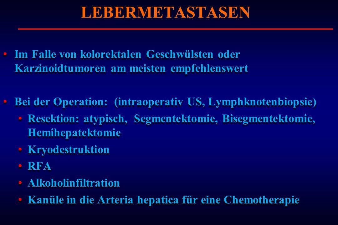 Im Falle von kolorektalen Geschwülsten oder Karzinoidtumoren am meisten empfehlenswert Bei der Operation: (intraoperativ US, Lymphknotenbiopsie) Resek