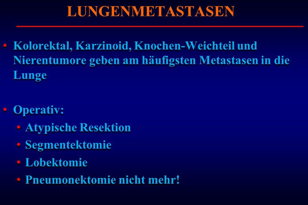 Kolorektal, Karzinoid, Knochen-Weichteil und Nierentumore geben am häufigsten Metastasen in die Lunge Operativ: Atypische Resektion Segmentektomie Lob