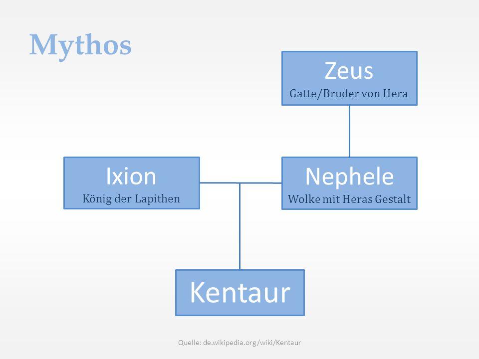 Mythos Zeus Gatte/Bruder von Hera Nephele Wolke mit Heras Gestalt Ixion König der Lapithen Kentaur Quelle: de.wikipedia.org/wiki/Kentaur