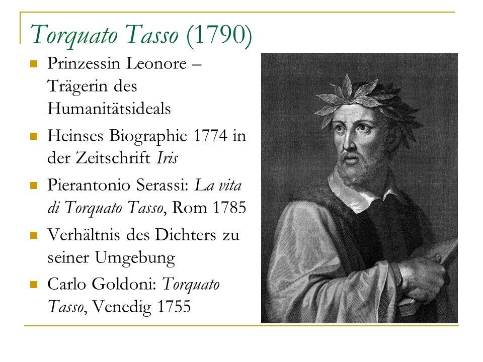Torquato Tasso (1790) Prinzessin Leonore – Trägerin des Humanitätsideals Heinses Biographie 1774 in der Zeitschrift Iris Pierantonio Serassi: La vita
