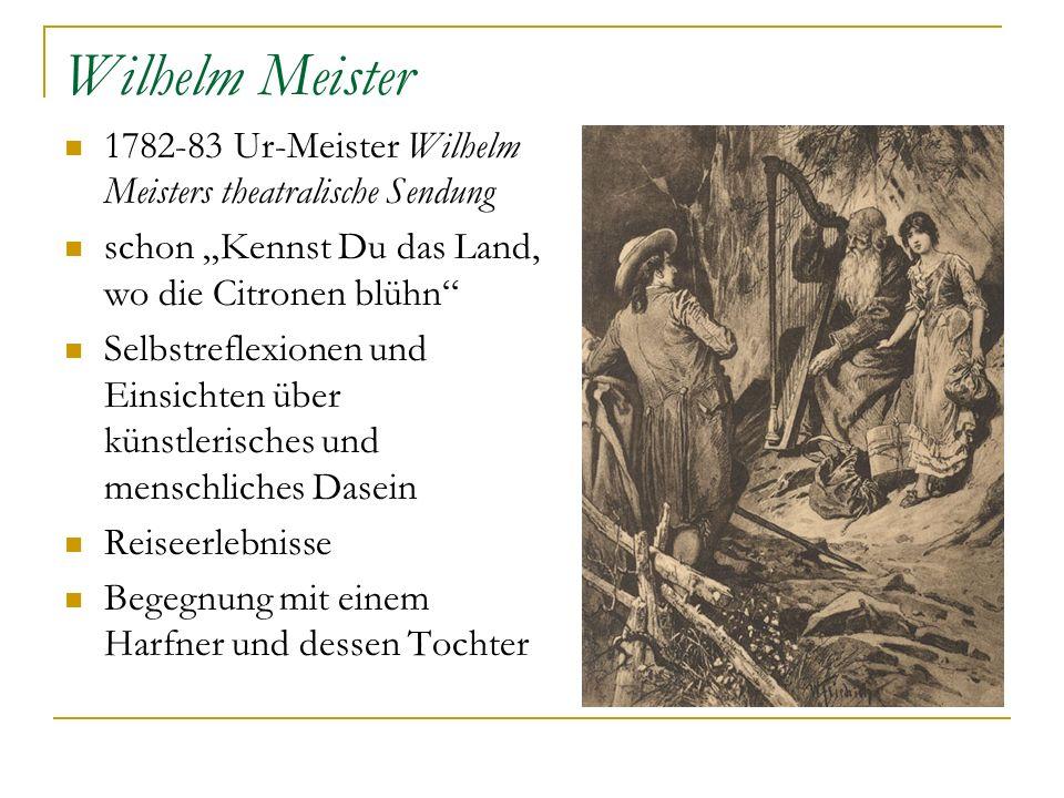 Wilhelm Meister 1782-83 Ur-Meister Wilhelm Meisters theatralische Sendung schon Kennst Du das Land, wo die Citronen blühn Selbstreflexionen und Einsic
