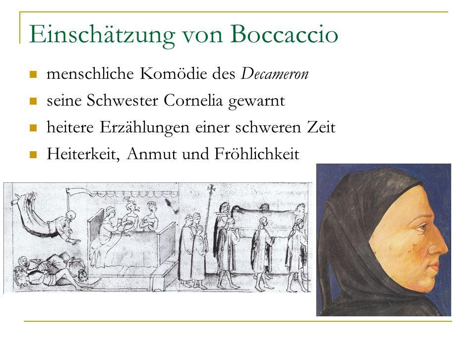 Einschätzung von Boccaccio menschliche Komödie des Decameron seine Schwester Cornelia gewarnt heitere Erzählungen einer schweren Zeit Heiterkeit, Anmu