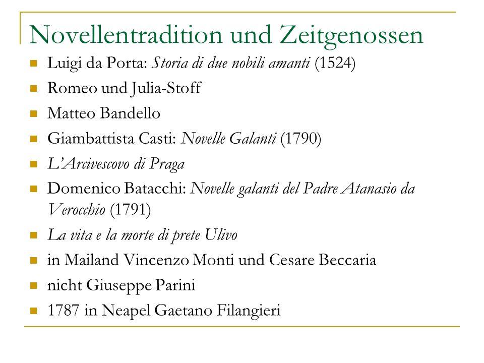 Novellentradition und Zeitgenossen Luigi da Porta: Storia di due nobili amanti (1524) Romeo und Julia-Stoff Matteo Bandello Giambattista Casti: Novell
