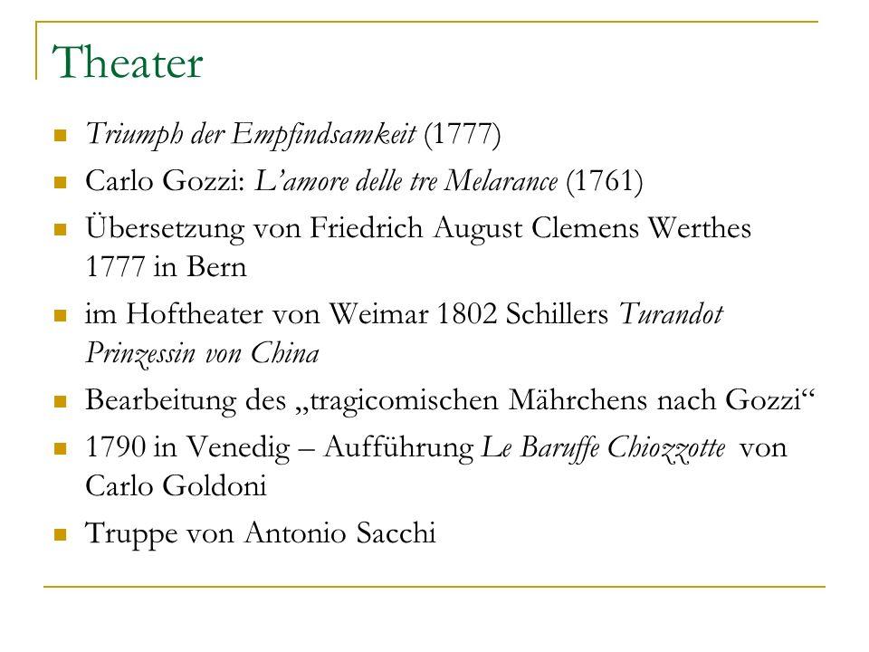 Theater Triumph der Empfindsamkeit (1777) Carlo Gozzi: Lamore delle tre Melarance (1761) Übersetzung von Friedrich August Clemens Werthes 1777 in Bern