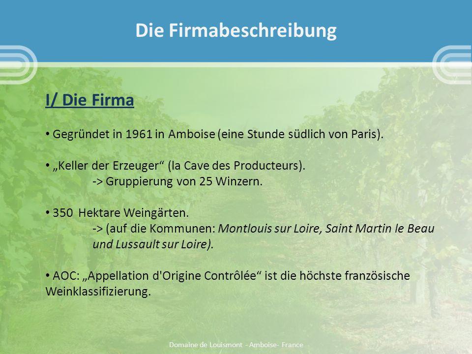 Die Firmabeschreibung I/ Die Firma Gegründet in 1961 in Amboise (eine Stunde südlich von Paris).