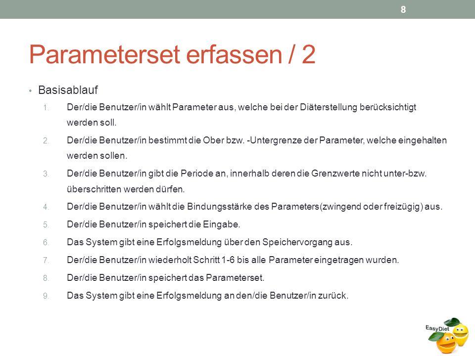 Parameterset erfassen / 2 Basisablauf 1.