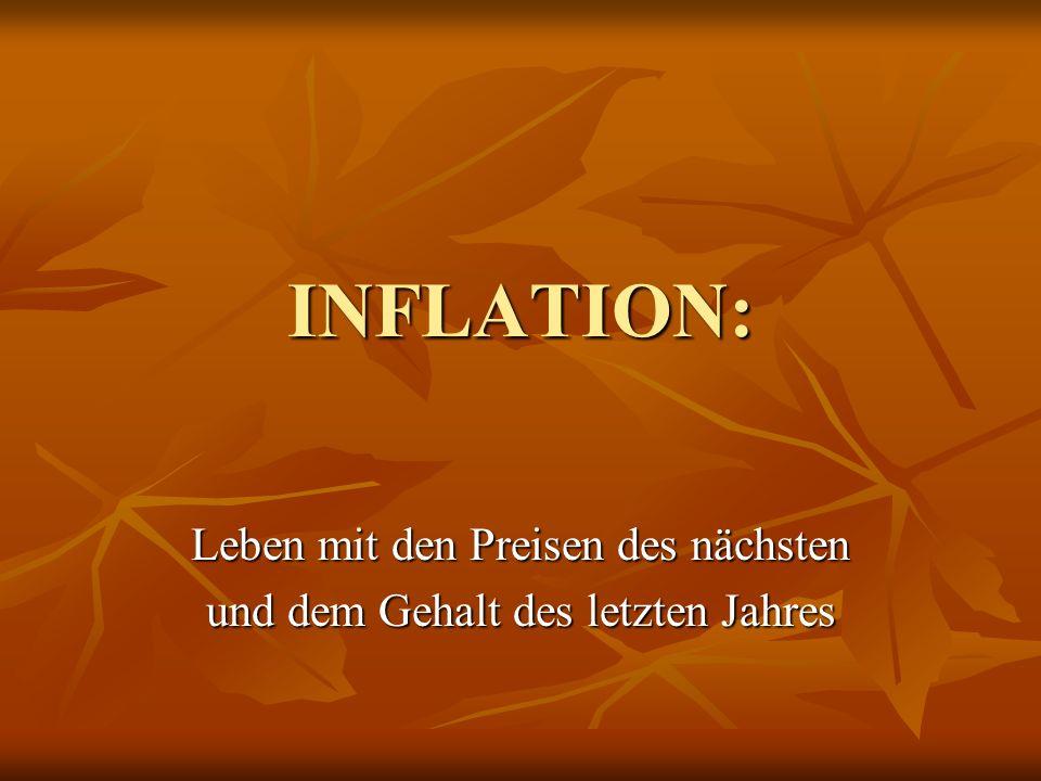 INFLATION: Leben mit den Preisen des nächsten und dem Gehalt des letzten Jahres