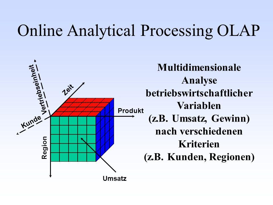 Multidimensionale Analyse betriebswirtschaftlicher Variablen (z.B.