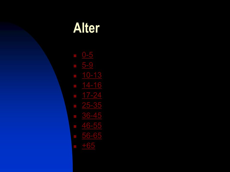 Alter 0-5 5-9 10-13 14-16 17-24 25-35 36-45 46-55 56-65 +65