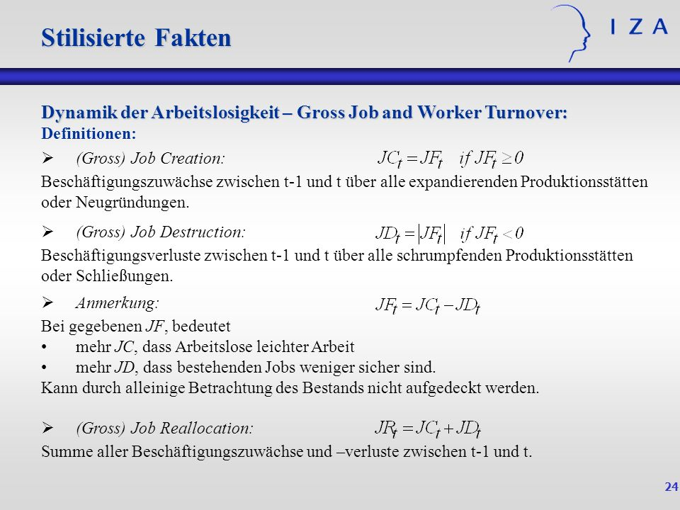 24 Dynamik der Arbeitslosigkeit – Gross Job and Worker Turnover: Definitionen: Stilisierte Fakten (Gross) Job Creation: Beschäftigungszuwächse zwische