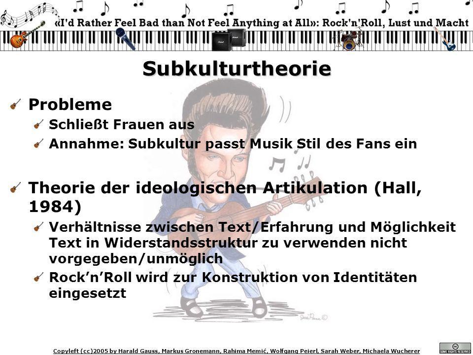 Copyleft (cc)2005 by Harald Gauss, Markus Gronemann, Rahima Memić, Wolfgang Peierl, Sarah Weber, Michaela Wucherer Subkulturtheorie Probleme Schließt