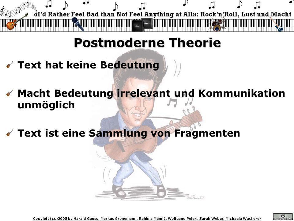 Copyleft (cc)2005 by Harald Gauss, Markus Gronemann, Rahima Memić, Wolfgang Peierl, Sarah Weber, Michaela Wucherer Postmoderne Theorie Text hat keine