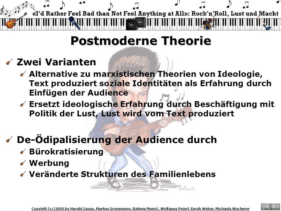 Copyleft (cc)2005 by Harald Gauss, Markus Gronemann, Rahima Memić, Wolfgang Peierl, Sarah Weber, Michaela Wucherer Postmoderne Theorie Zwei Varianten