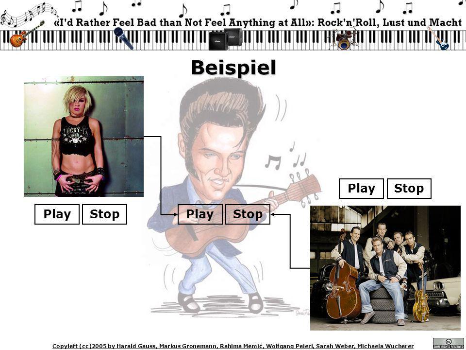 Copyleft (cc)2005 by Harald Gauss, Markus Gronemann, Rahima Memić, Wolfgang Peierl, Sarah Weber, Michaela Wucherer Beispiel PlayStop PlayStop PlayStop