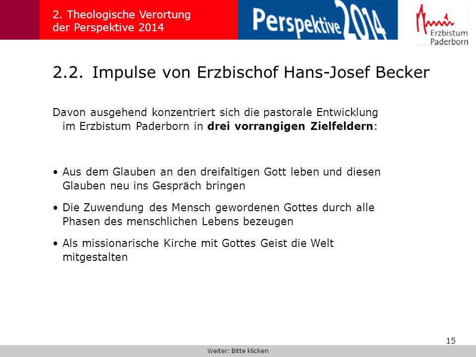 15 2.2.Impulse von Erzbischof Hans-Josef Becker 2. Theologische Verortung der Perspektive 2014 Davon ausgehend konzentriert sich die pastorale Entwick