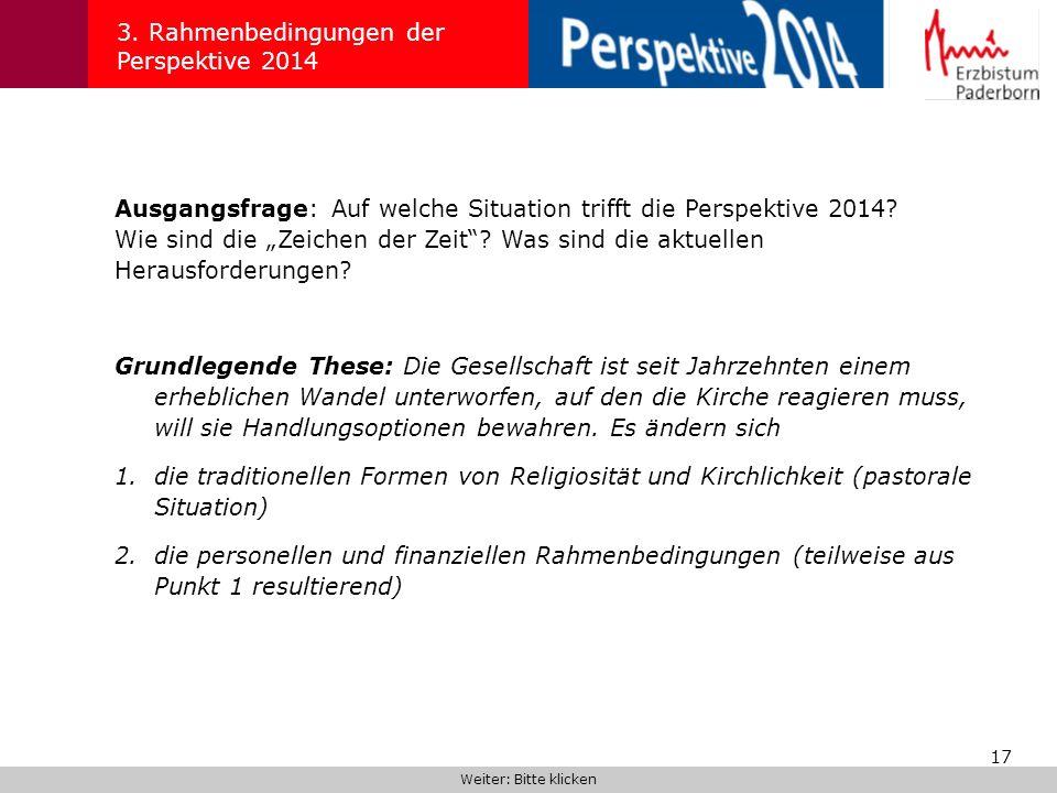 17 3. Rahmenbedingungen der Perspektive 2014 Ausgangsfrage: Auf welche Situation trifft die Perspektive 2014? Wie sind die Zeichen der Zeit? Was sind