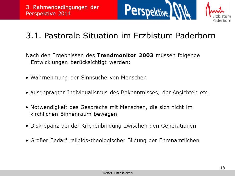 18 3.1. Pastorale Situation im Erzbistum Paderborn 3. Rahmenbedingungen der Perspektive 2014 Nach den Ergebnissen des Trendmonitor 2003 müssen folgend