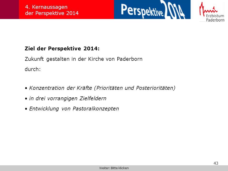 43 4. Kernaussagen der Perspektive 2014 Ziel der Perspektive 2014: Zukunft gestalten in der Kirche von Paderborn durch: Weiter: Bitte klicken Konzentr