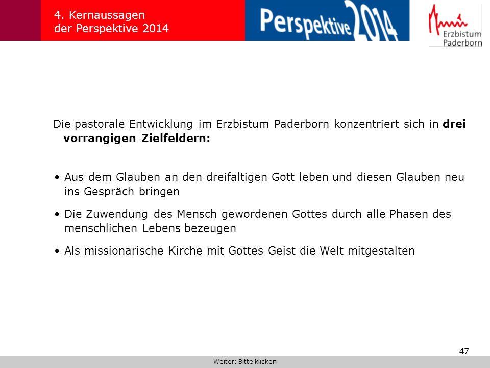 47 4. Kernaussagen der Perspektive 2014 Die pastorale Entwicklung im Erzbistum Paderborn konzentriert sich in drei vorrangigen Zielfeldern: Weiter: Bi