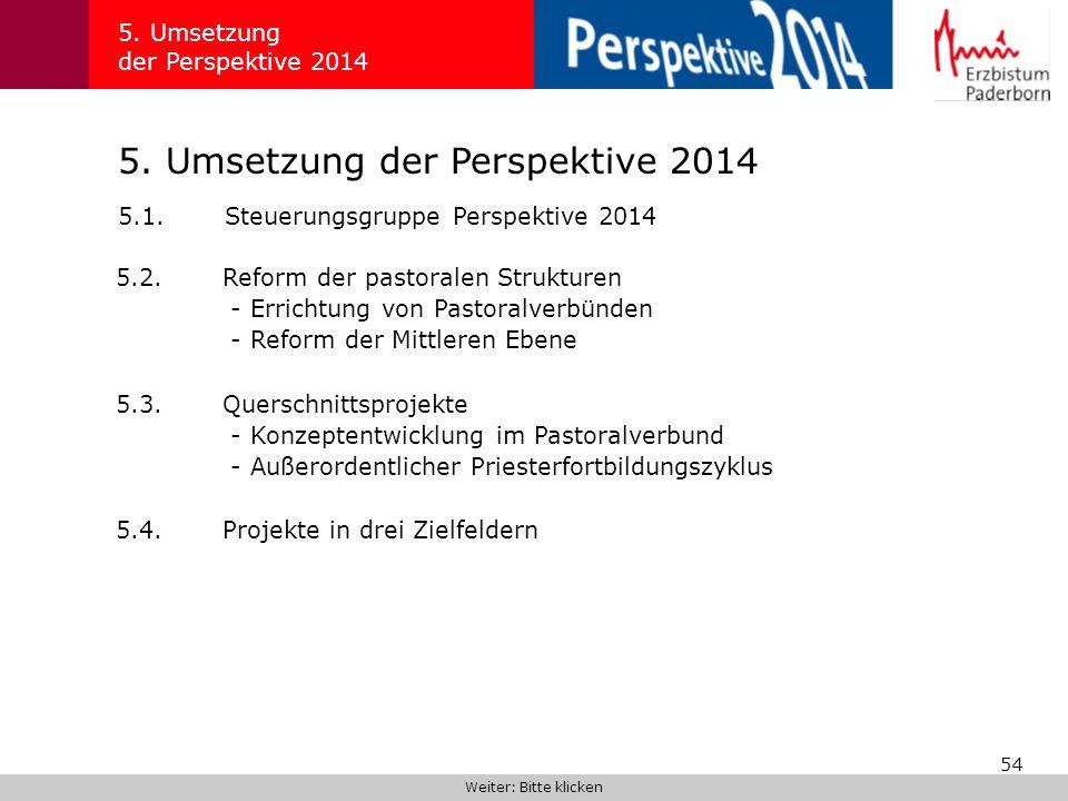 54 5. Umsetzung der Perspektive 2014 5.1.Steuerungsgruppe Perspektive 2014 Weiter: Bitte klicken 5.2.Reform der pastoralen Strukturen - Errichtung von