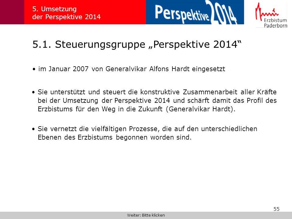 55 5.1. Steuerungsgruppe Perspektive 2014 5. Umsetzung der Perspektive 2014 im Januar 2007 von Generalvikar Alfons Hardt eingesetzt Weiter: Bitte klic