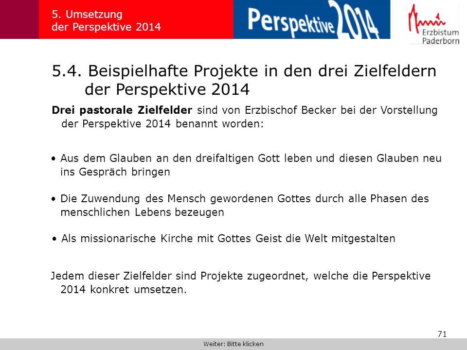 71 5.4. Beispielhafte Projekte in den drei Zielfeldern der Perspektive 2014 5. Umsetzung der Perspektive 2014 Drei pastorale Zielfelder sind von Erzbi
