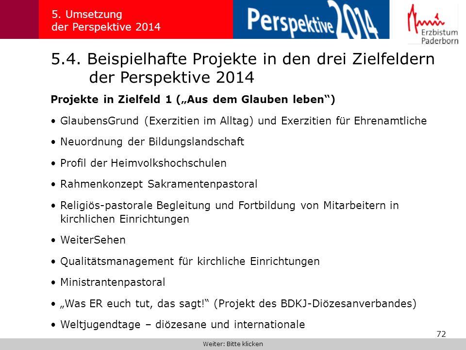 72 5.4. Beispielhafte Projekte in den drei Zielfeldern der Perspektive 2014 5. Umsetzung der Perspektive 2014 Projekte in Zielfeld 1 (Aus dem Glauben