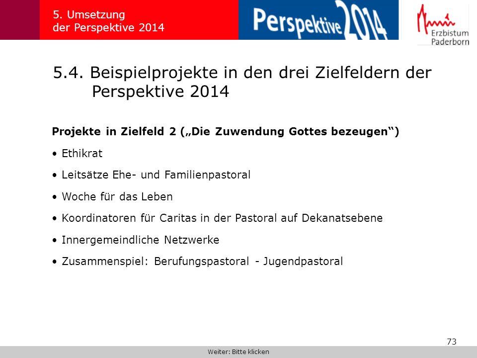 73 5.4.Beispielprojekte in den drei Zielfeldern der Perspektive 2014 5.