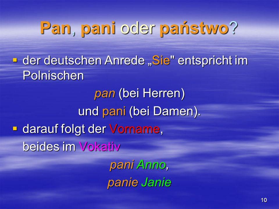 10 Pan, pani oder państwo? der deutschen Anrede Sie