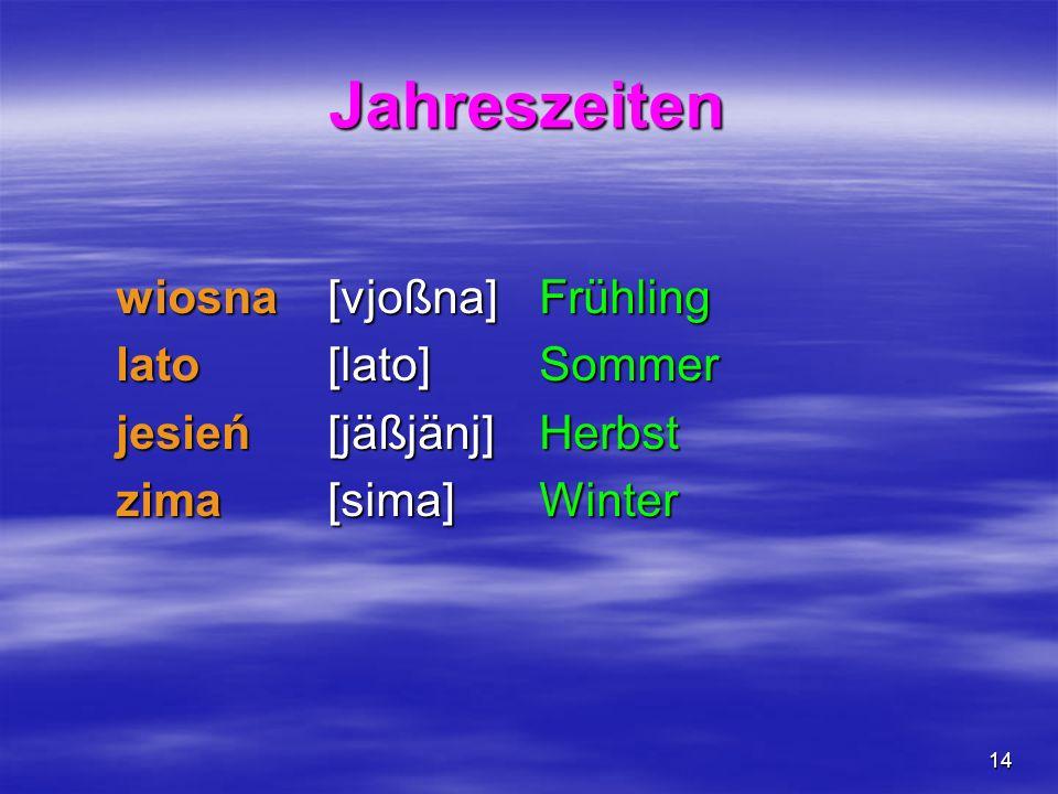 14 Jahreszeiten wiosna [vjoßna] Frühling lato [lato] Sommer jesień [jäßjänj] Herbst zima [sima] Winter